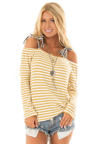 Mustard and Ivory Striped Top with Tie Straps front close up