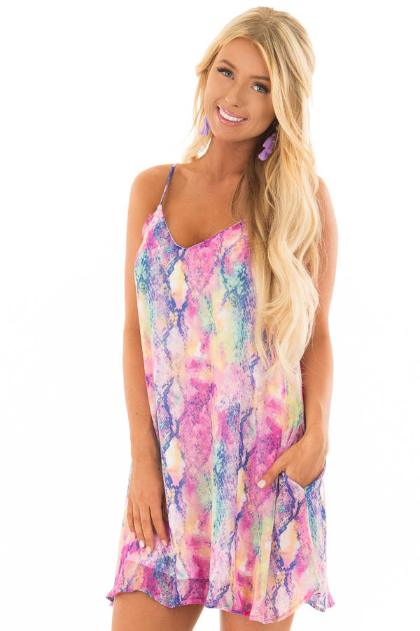Multi Color Snake Print Sleeveless Dress front close up
