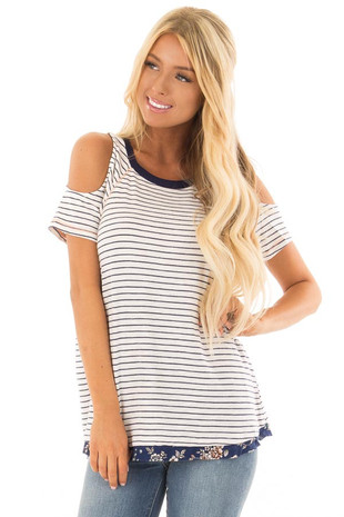White and Navy Striped Cold Shoulder Top with Open Back front close up