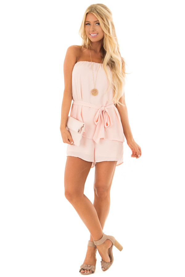 Blush Pink Romper with Tie Detail front full body