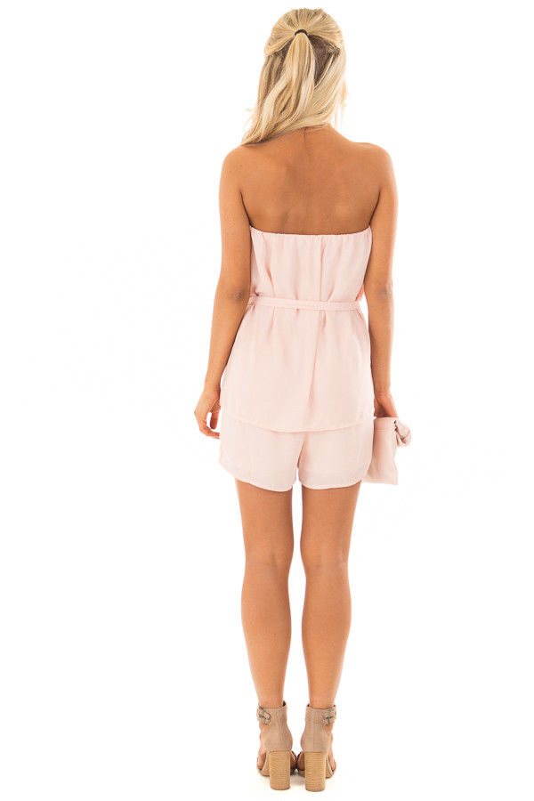 Blush Pink Romper with Tie Detail back full body