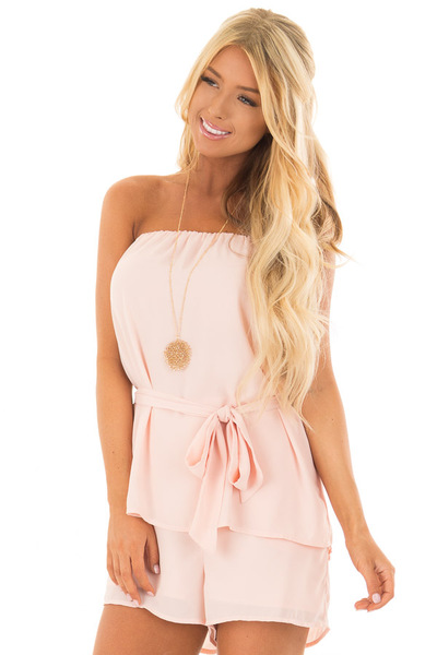 Blush Pink Romper with Tie Detail front close up