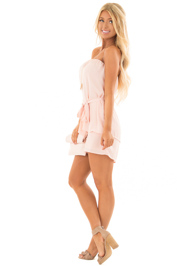 Blush Pink Romper with Tie Detail side full body