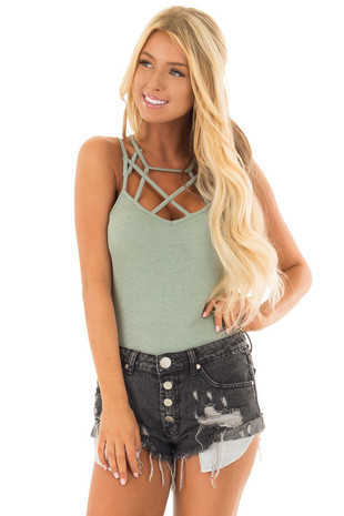 Sage Ribbed Knit Bodysuit with Strappy Neckline front close up