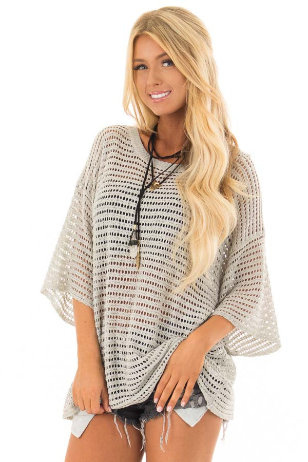 Slate Grey Open Knit Short Sleeve Sweater front close up
