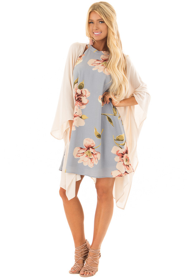 Natural Poncho Style Kimono with V Back front full body