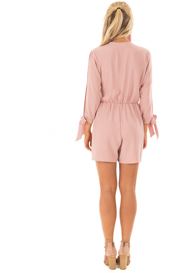 Mauve Open Sleeve Wrap Romper with Tie Details back full body