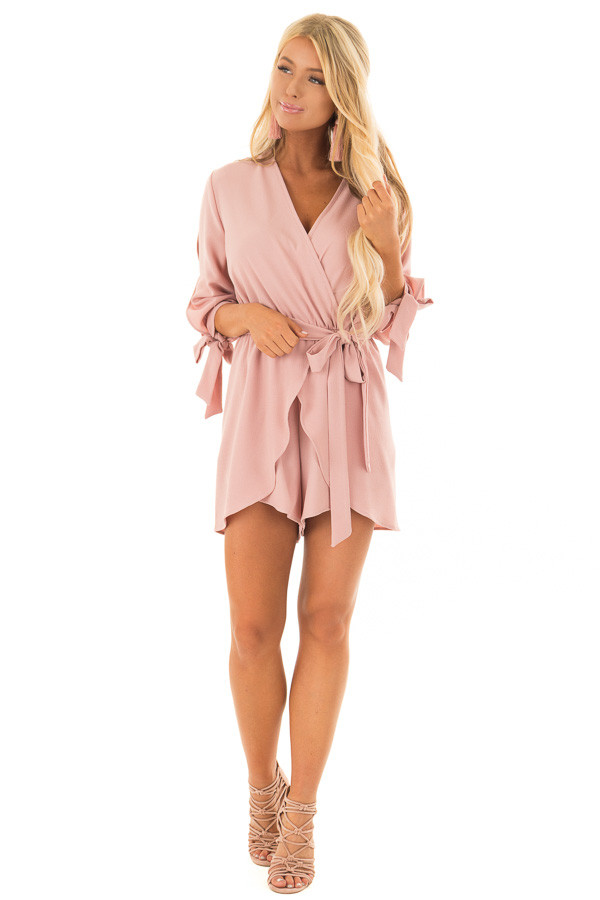 Mauve Open Sleeve Wrap Romper with Tie Details front full body