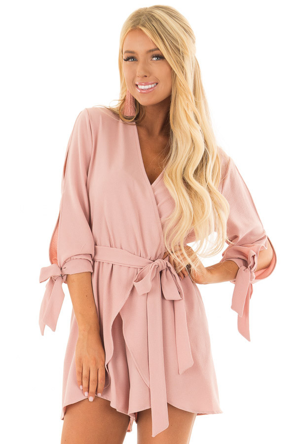 Mauve Open Sleeve Wrap Romper with Tie Details front close up