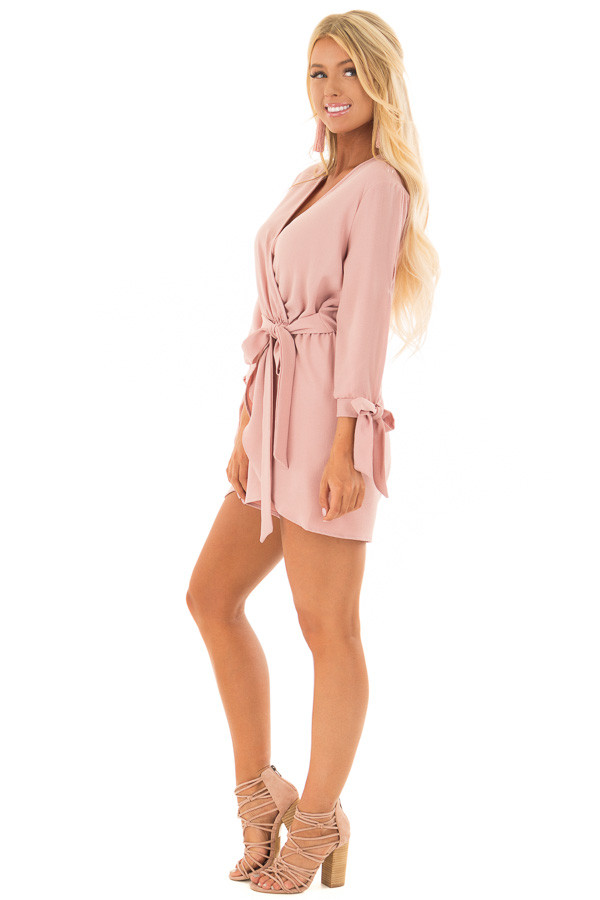 Mauve Open Sleeve Wrap Romper with Tie Details side full body