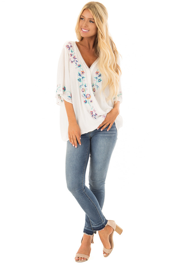 Porcelain White Surplice Top with Embroidery Detail front full body