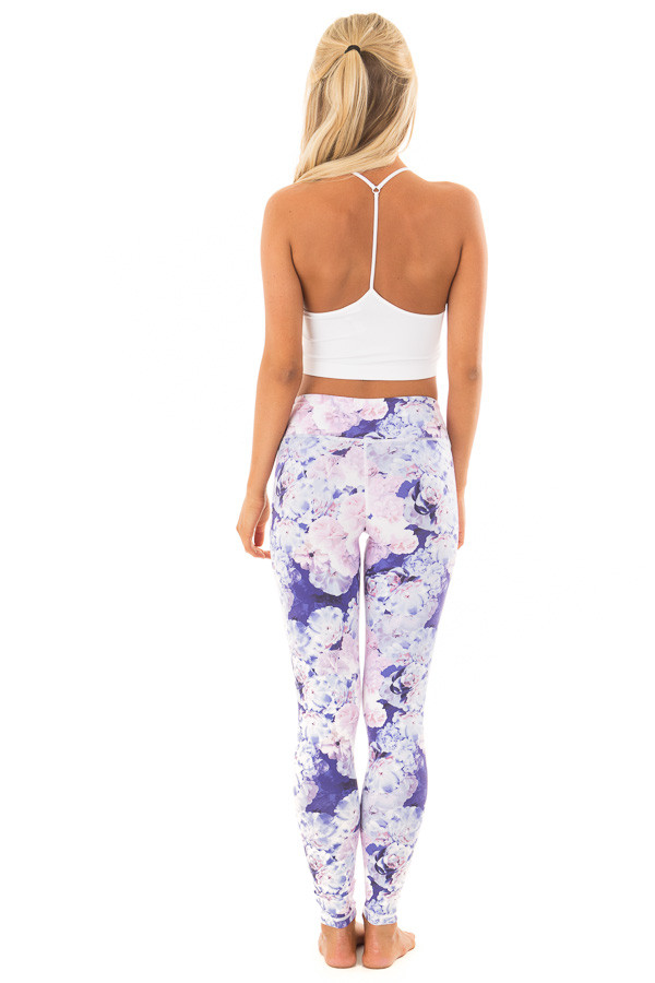 Lavender Floral Print Athletic Leggings back full body