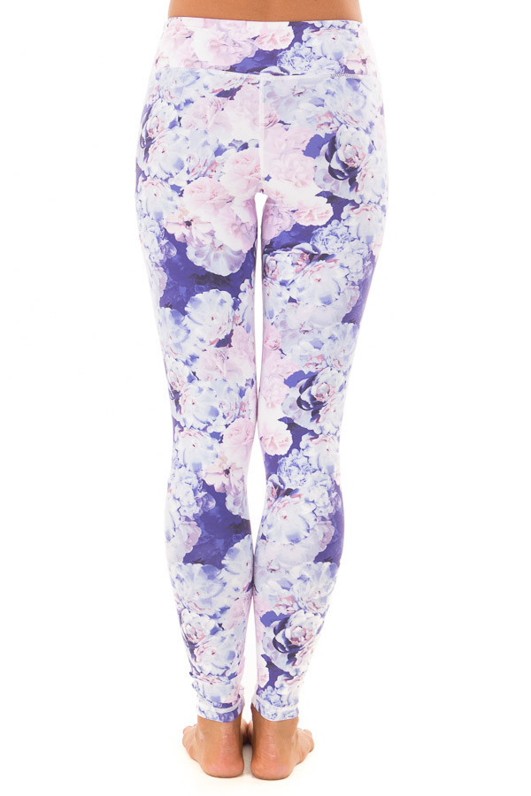 Lavender Floral Print Athletic Leggings back view
