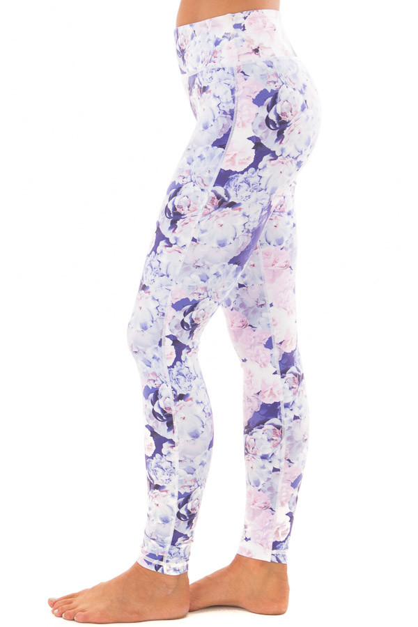 Lavender Floral Print Athletic Leggings side view