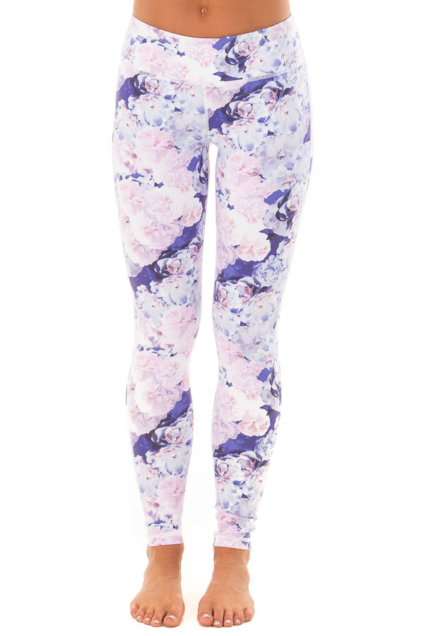 Lavender Floral Print Athletic Leggings front view