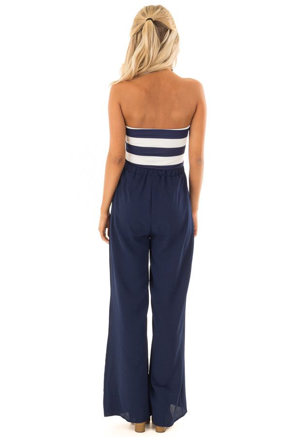 Navy Striped Jumpsuit with Front Tie Detail back full body