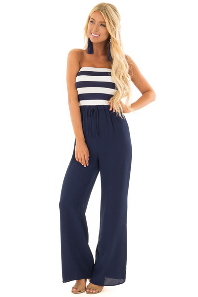 Navy Striped Jumpsuit with Front Tie Detail front close up