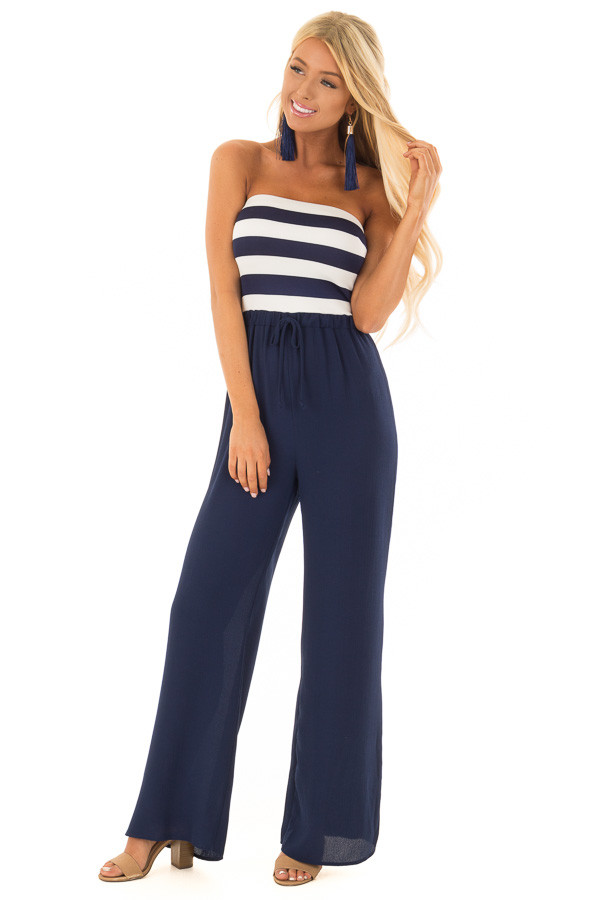 Navy Striped Jumpsuit with Front Tie Detail front full body