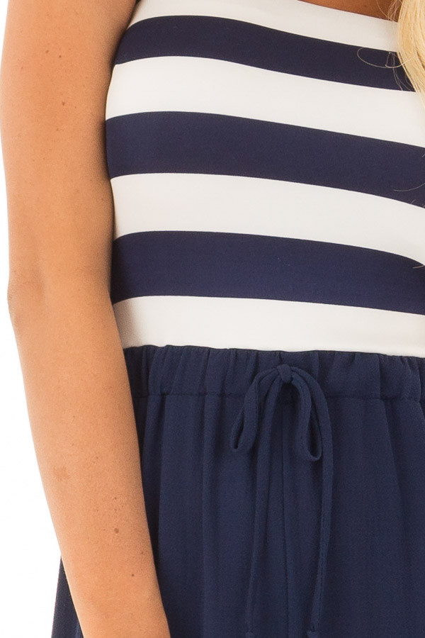 Navy Striped Jumpsuit with Front Tie Detail detail