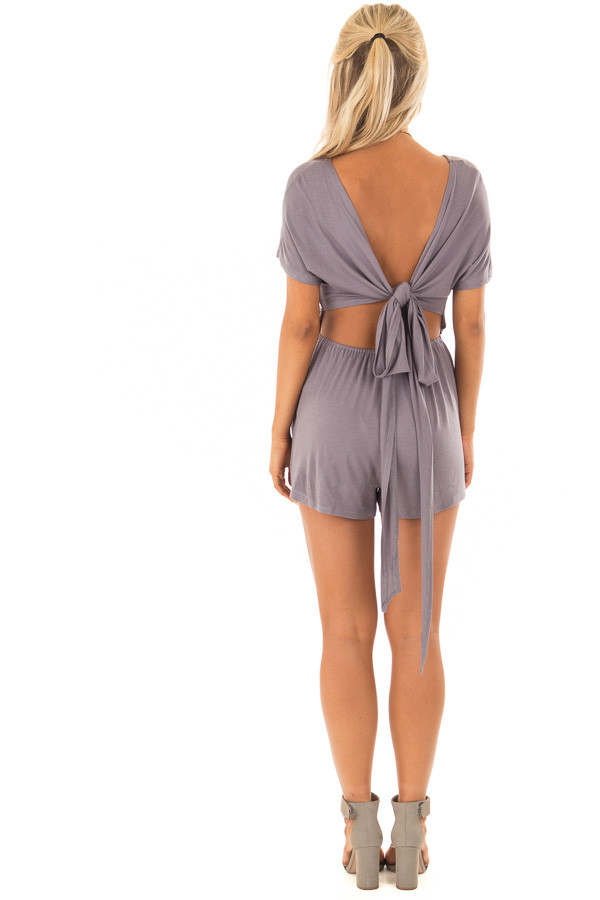 Steel Grey Romper with Open Tie Back back full body