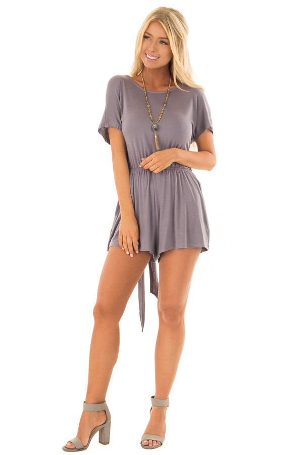 Steel Grey Romper with Open Tie Back back front full body