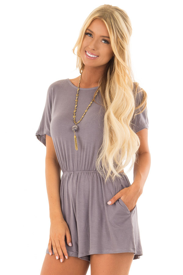 Steel Grey Romper with Open Tie Back back front close up