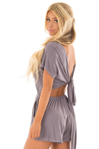 Steel Grey Romper with Open Tie Back back side close up