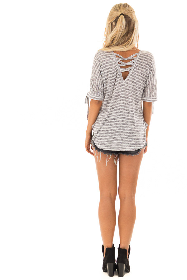 Heather Grey and White Striped Top with Strappy Back back full body