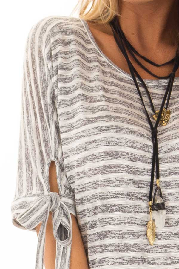 Heather Grey and White Striped Top with Strappy Back detail