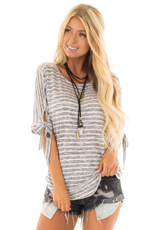 Heather Grey and White Striped Top with Strappy Back front close up