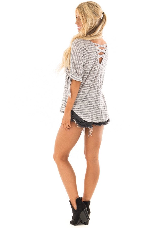 Heather Grey and White Striped Top with Strappy Back back side full body