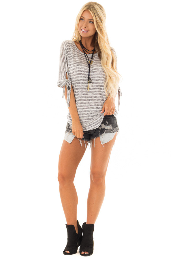 Heather Grey and White Striped Top with Strappy Back front full body