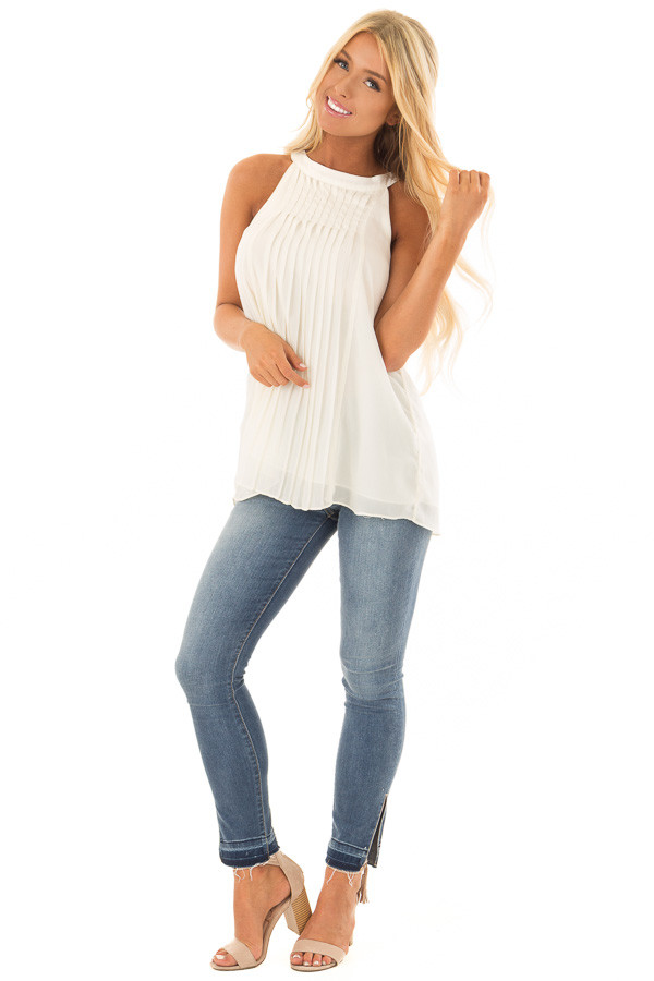 Cream High Neck Pleated Tank Top front full body