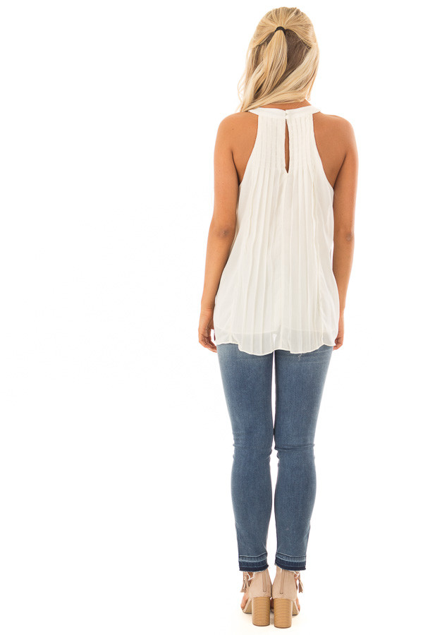Cream High Neck Pleated Tank Top back full body