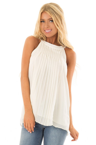 Cream High Neck Pleated Tank Top front close up