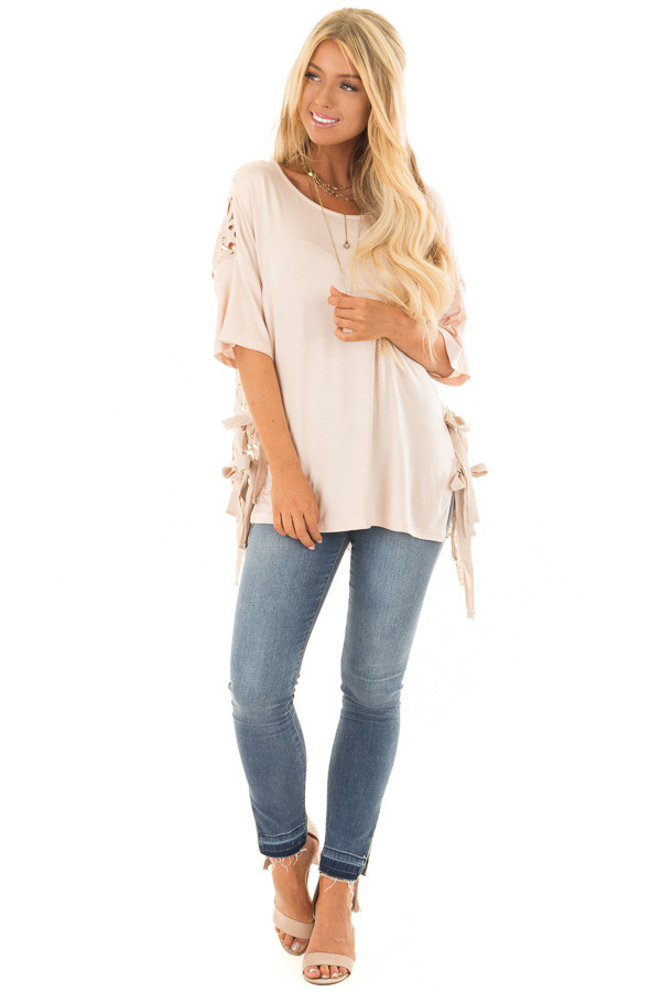 Blush Top with Sheer Lace Back and Open Sides with Ties front full body