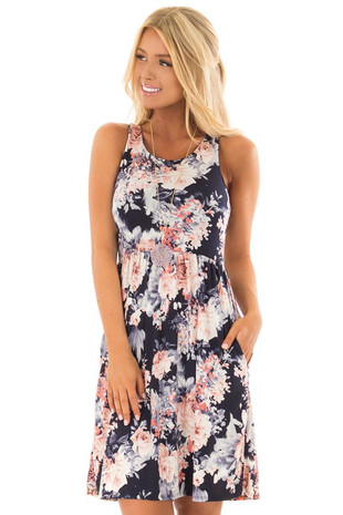 Navy Floral Print Slinky Racerback Dress with Pockets front close up