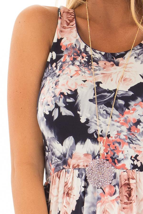 Navy Floral Print Slinky Racerback Dress with Pockets detail