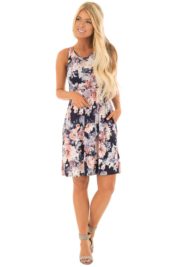 Navy Floral Print Slinky Racerback Dress with Pockets front full body