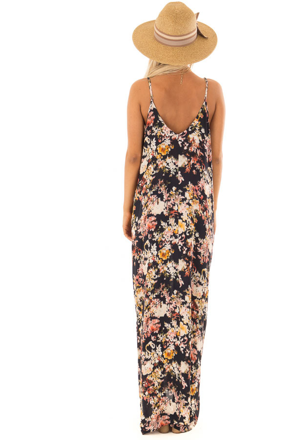 Black Floral Print Cocoon Maxi Dress with Pockets back full body