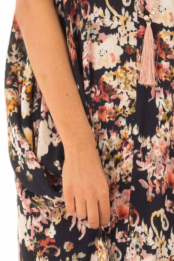 Black Floral Print Cocoon Maxi Dress with Pockets detail