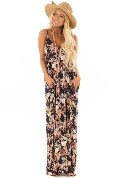 Black Floral Print Cocoon Maxi Dress with Pockets front full body
