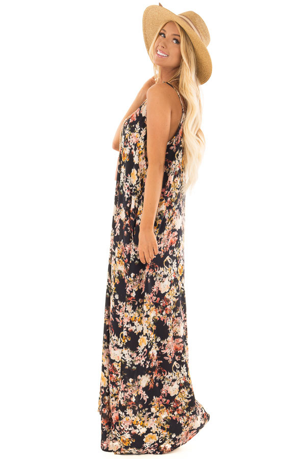 Black Floral Print Cocoon Maxi Dress with Pockets side full body