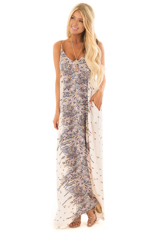 Cream Floral Design Cocoon Maxi Dress with Pockets front close up