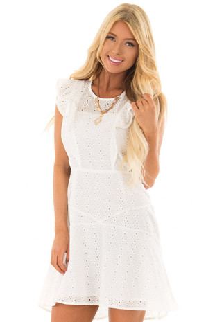 White Eyelet Dress with Ruffle Trim and Cutout Sides front close up