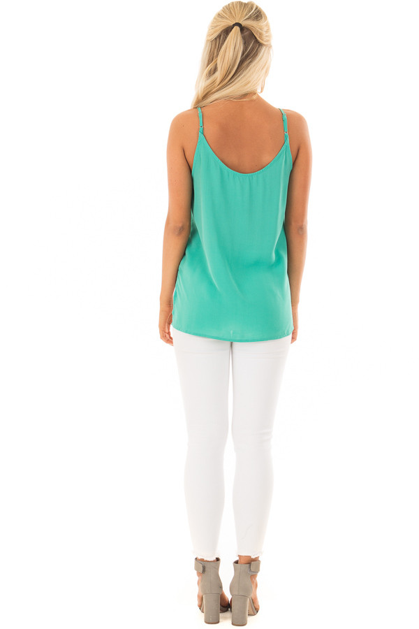 Jade V Neck Tank Top with Front Twist Detail back full body