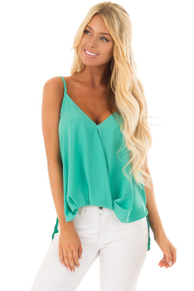 Jade V Neck Tank Top with Front Twist Detail front close up