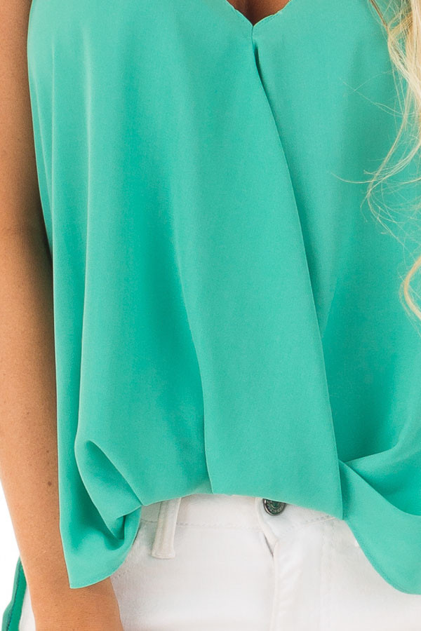 Jade V Neck Tank Top with Front Twist Detail detail
