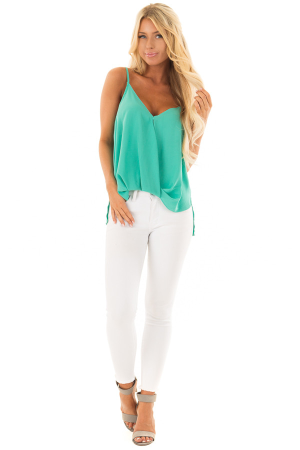 Jade V Neck Tank Top with Front Twist Detail front full body