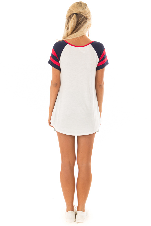 Ivory Crimson and Navy Tee Shirt with Criss Cross Neckline back full body